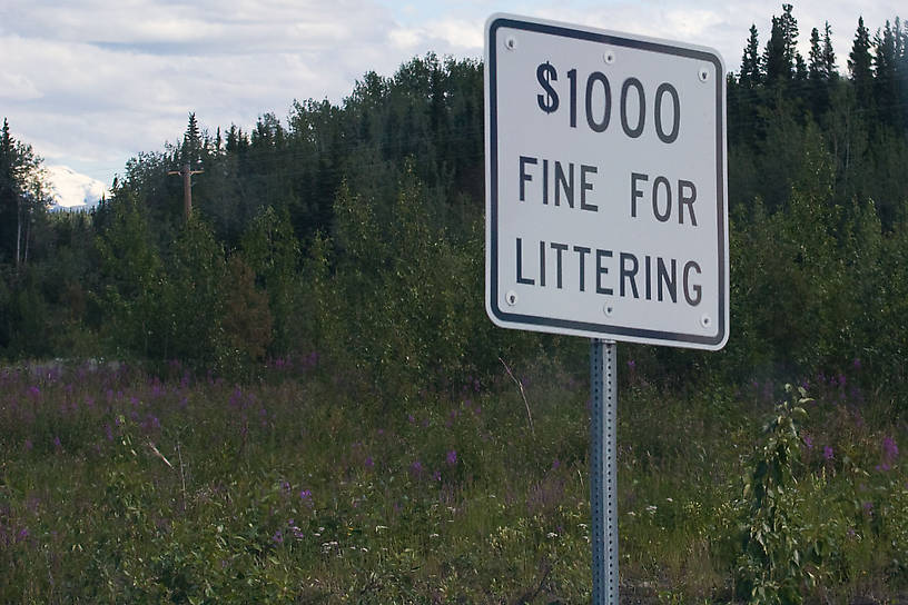 Alaska has the right idea here.  I would like to see them add another digit to that number, but they're still doing pretty well compared to everyone else in that regard.  It shows, too -- there doesn't seem to be very much litter along this highway. From Richardson Highway in Alaska.