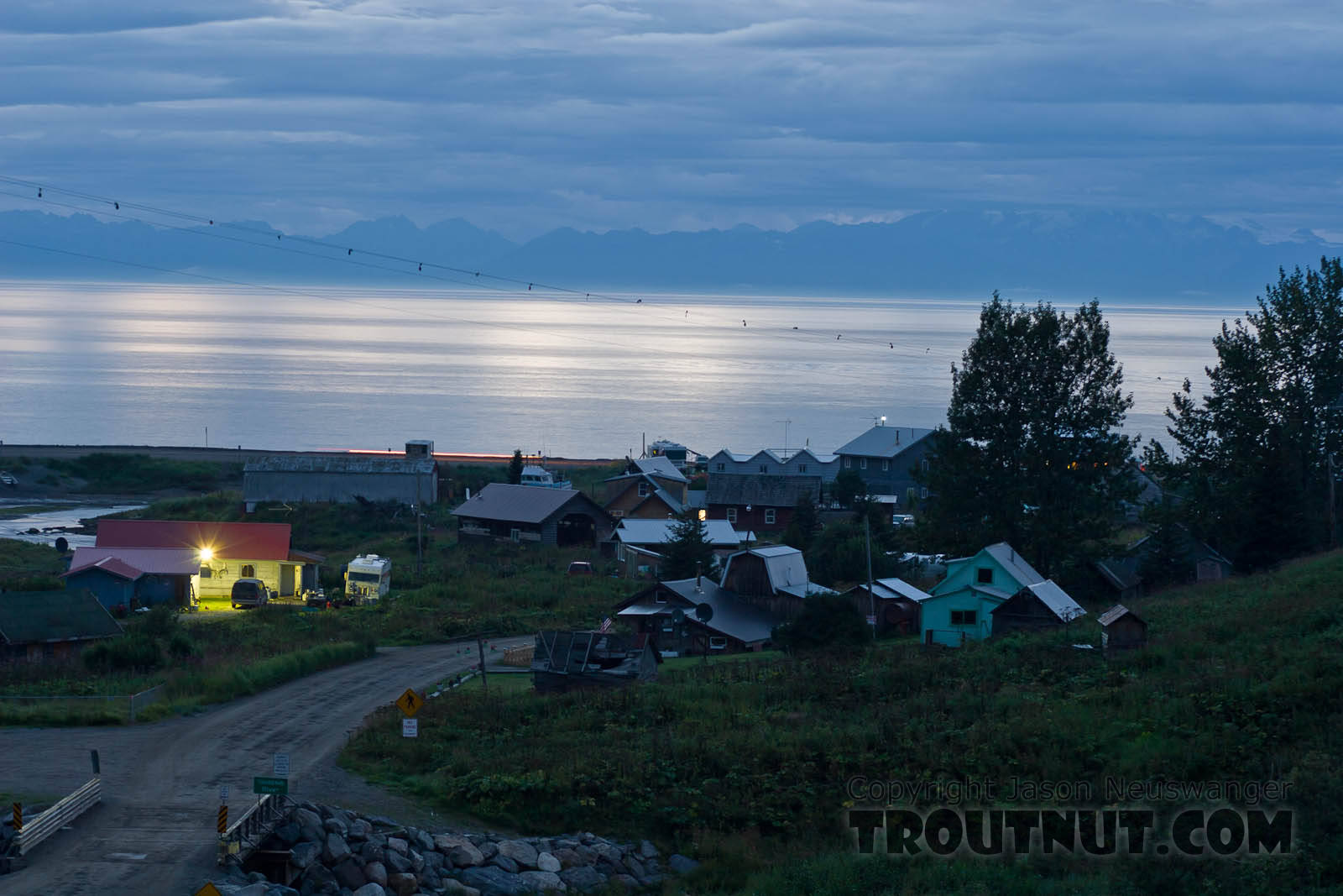 After finishing the Kenai float, I drove town to Homer.  Along the way was this view of the little fishing village of Ninilchik on Cook Inlet. From Ninilchik in Alaska.