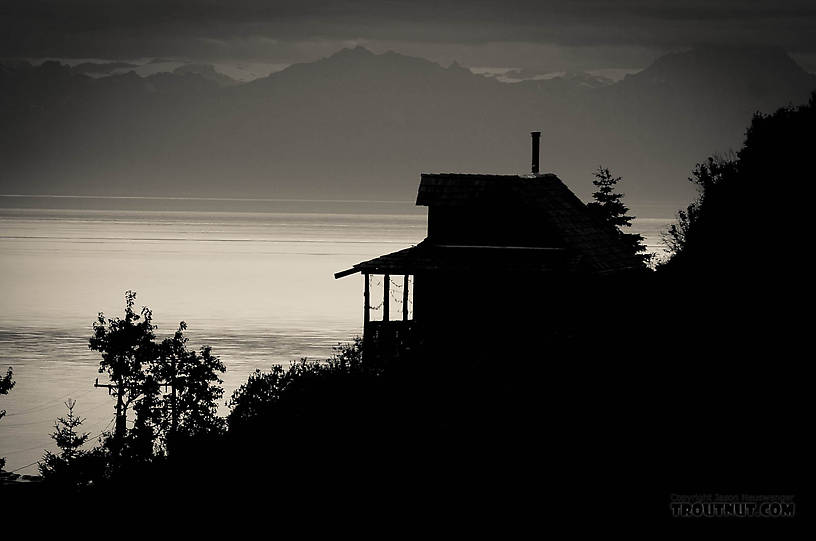 A house perched over Ninilchik with a commanding view of Cook Inlet. From Ninilchik in Alaska.
