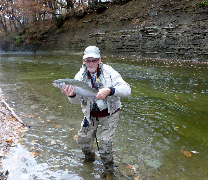 You can see the deeper colored areas - that is where the steelhead like to lie - I have no idea why I look like such a doofus in this picture.