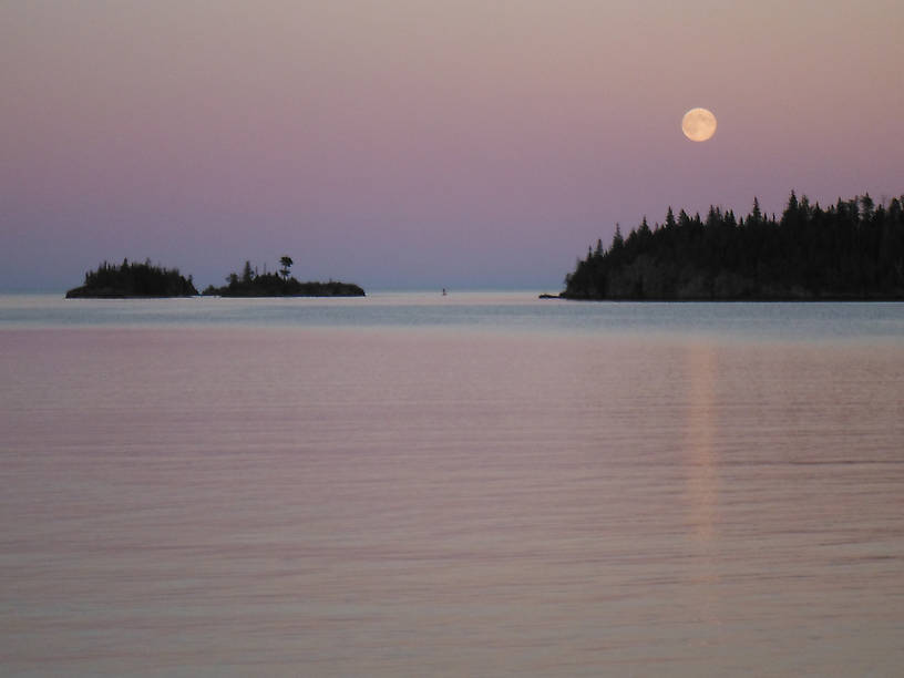 Moonrise over Rock Harbor from Daisy Farm