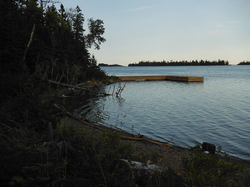 Shore and dock at Three Mile campground