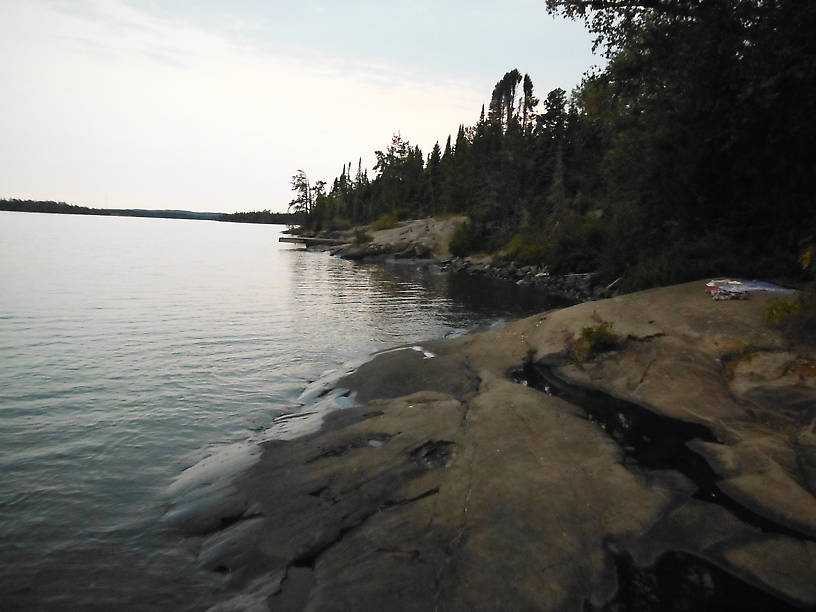 Rocky shoreline at Three Mile campground