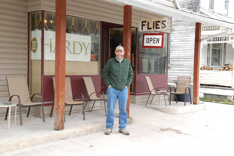 This is the B&B Fly shop where we camped out, The Feathered Hook...Nice collection of cane rods and a guy that has a shop out back where he makes rods. Eric wanted to buy a used rod that was going for $1,100 and I almost bought another Hardy.