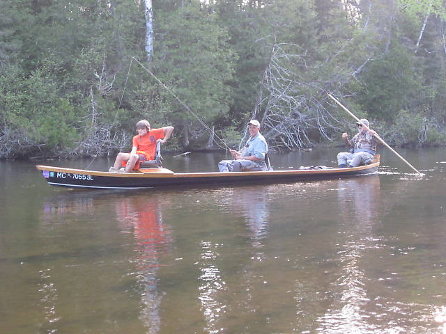 "A ""stick-boat"" or Au Sable River boat...The father and son team have been up the same week as me for some years now."
