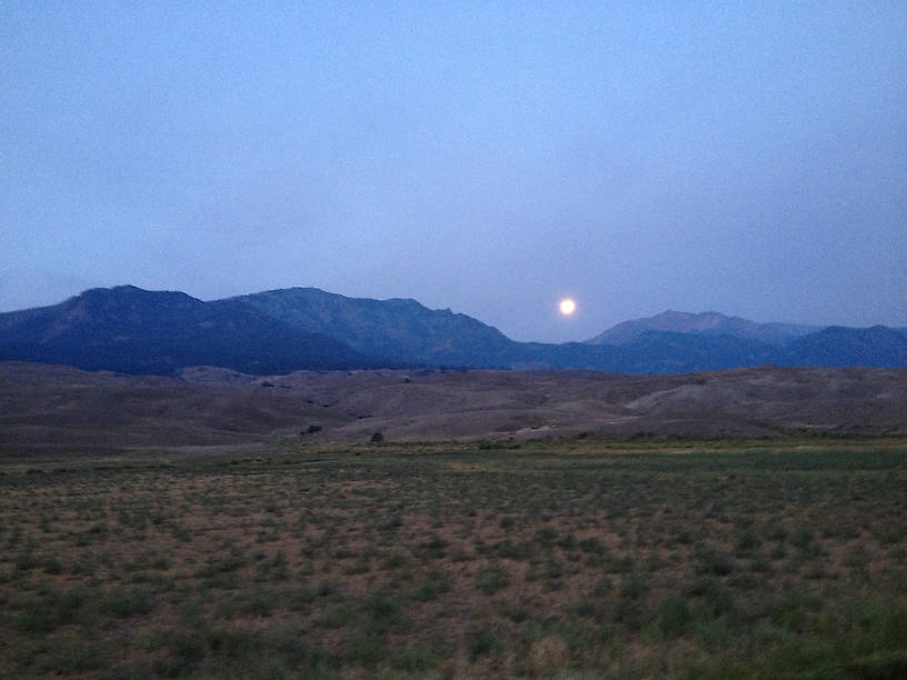Moon setting in Park on the way to Gardner. Taken with an iPhone!
