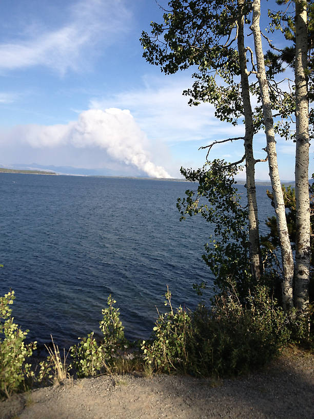 Fire south of Yellowstone Lake