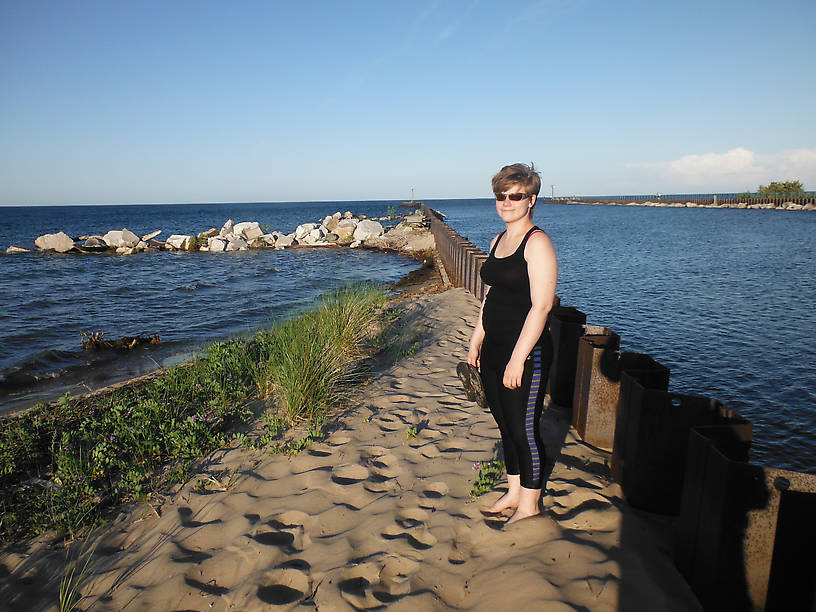 Last but not least!  My daughter Jasmina was visiting last weekend, though she didn't go fishing with me...that's the mouth of the Au Sable in the background