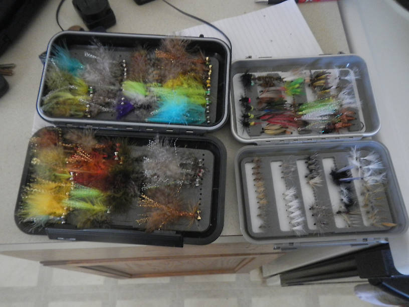 "More flies - these are my main two boxes I carry in the sling-pack, the previous two are ""add-ons"" as needed"