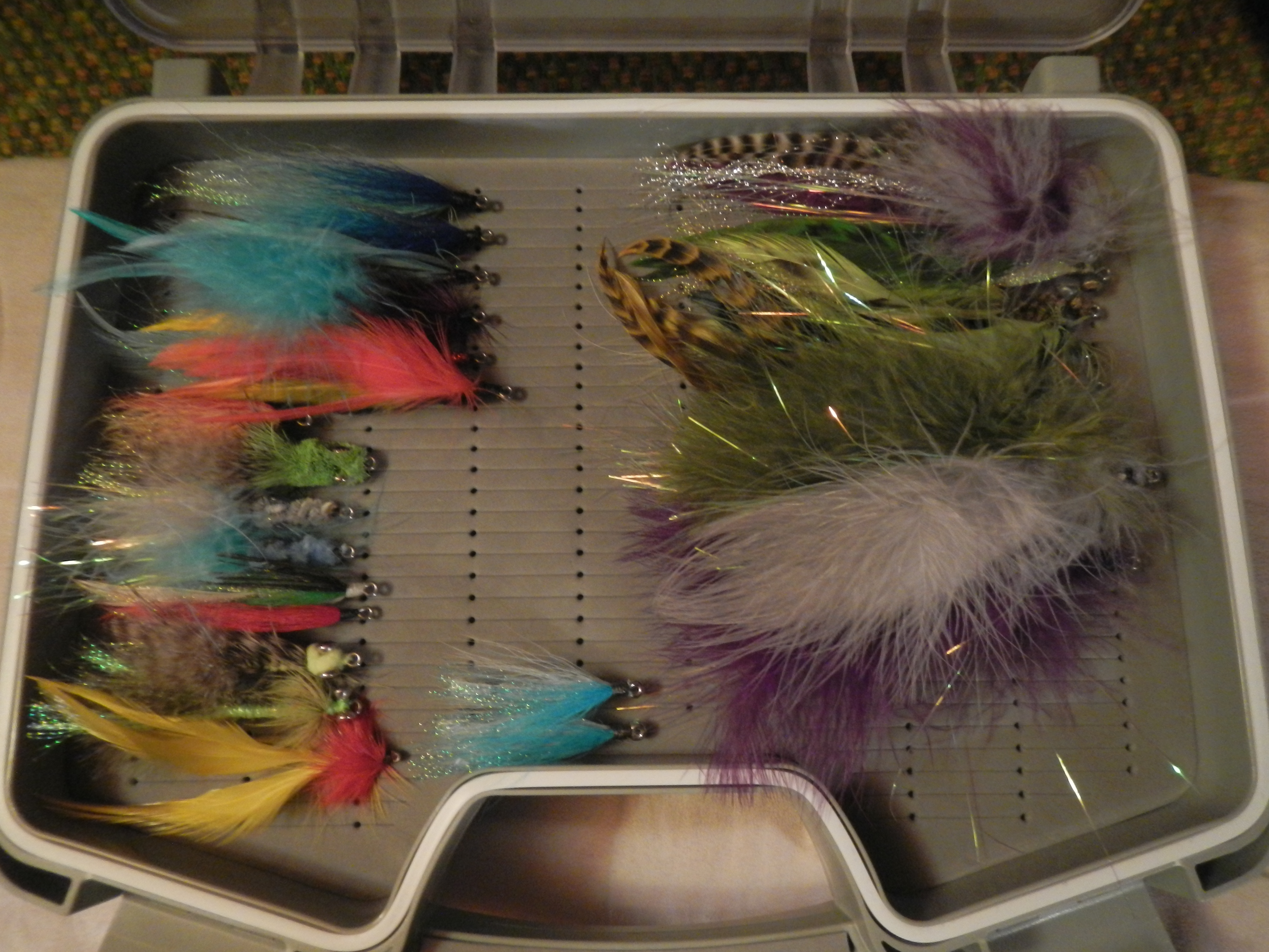 """Saltwater Flies II - taking a mobile tying set up & plenty of materials with me since I didn't fill this box as intended, & to respond to local conditions (""""match the hatch"""")"""
