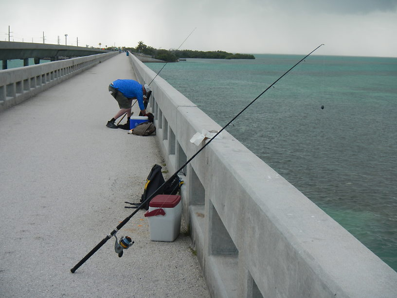 Pier fishing at the 7 Mile Bridge - LOTS of little mangrove snappers stealing our bait here