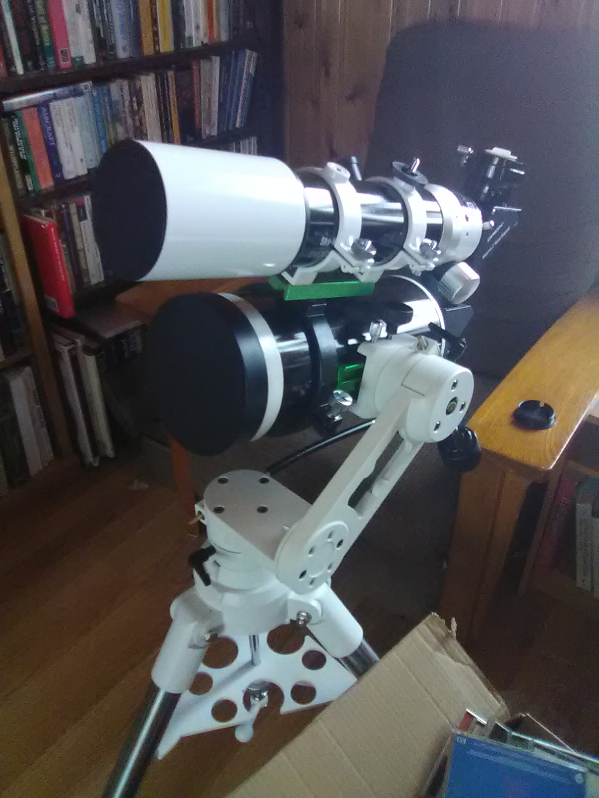 Though I didn't set them up like this, here's the two travel telescopes I took and tested on the trip