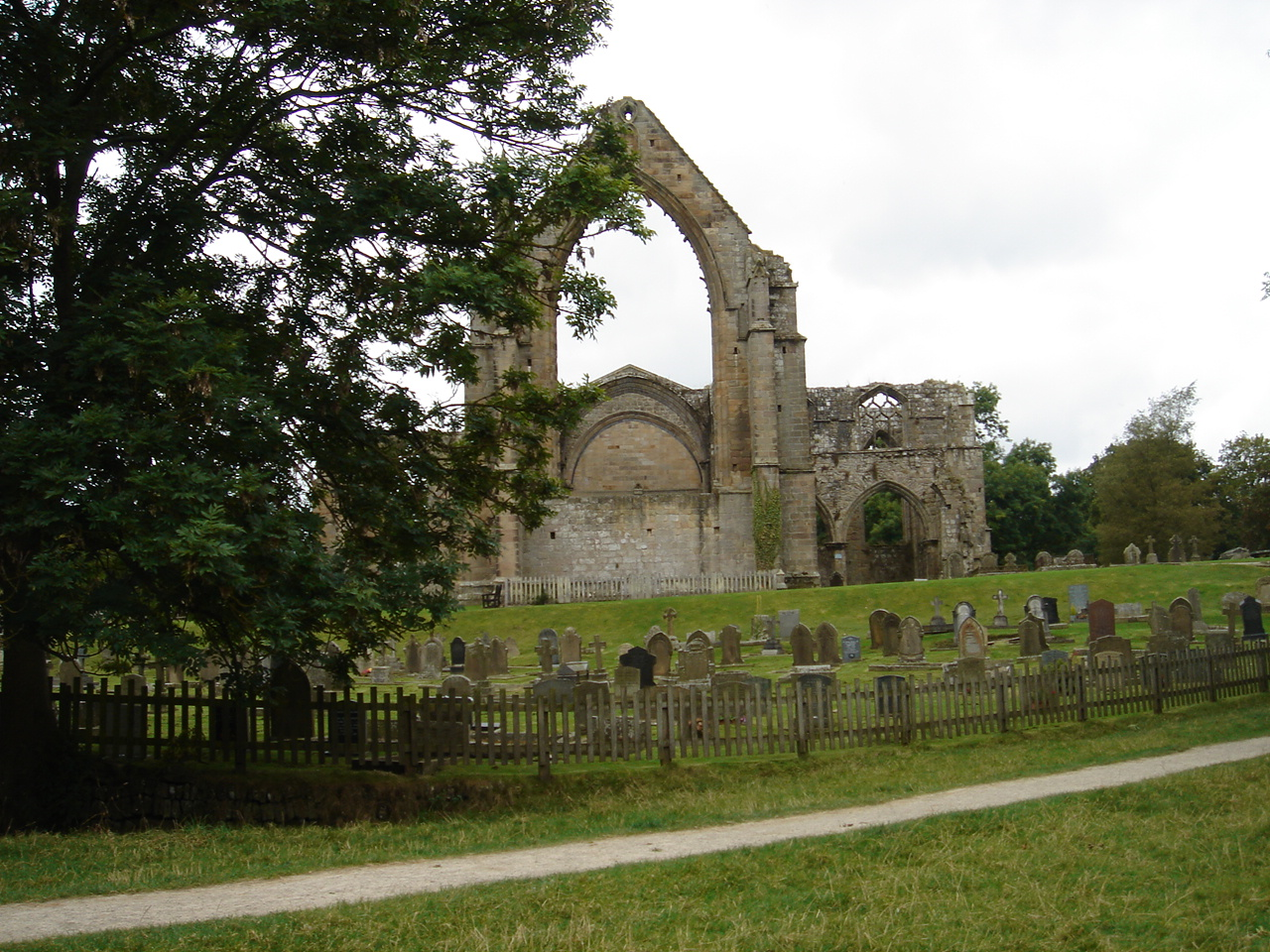 Bolton Abbey was destroyed by King Henry VIII.  The graveyard is still active, as is a rebuilt section of the church behind this part.