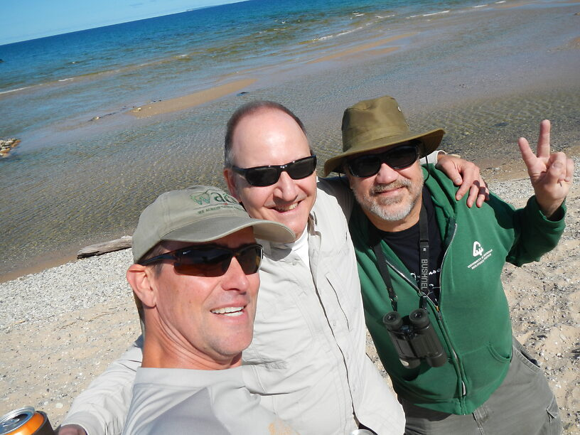 """The (tilted) """"Three Amigos Selfie"""" on the beach of Lake Michigan!"""