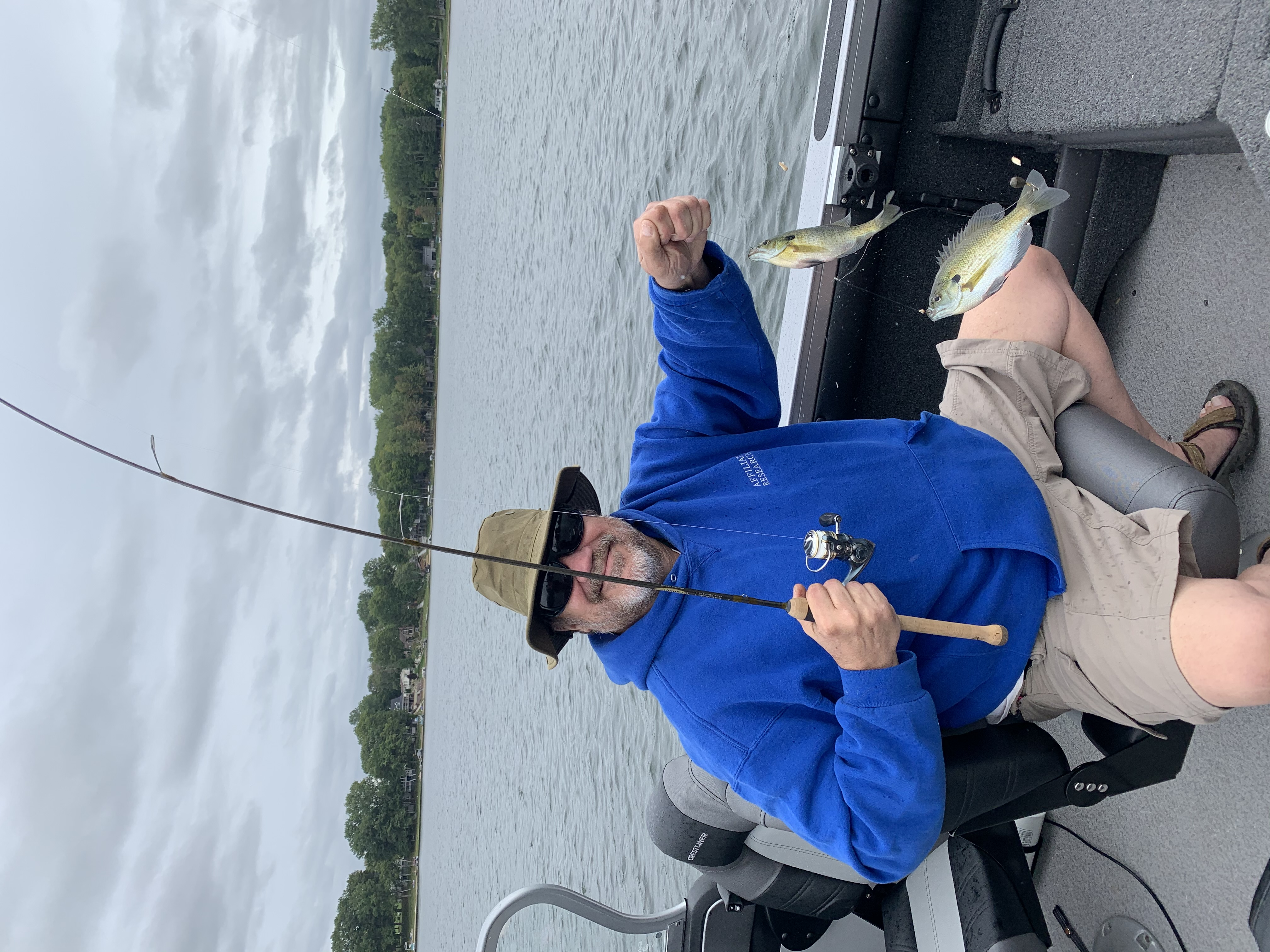Okay, we weren't using fly rods, they were too deep...but we caught dinner!  Double-header