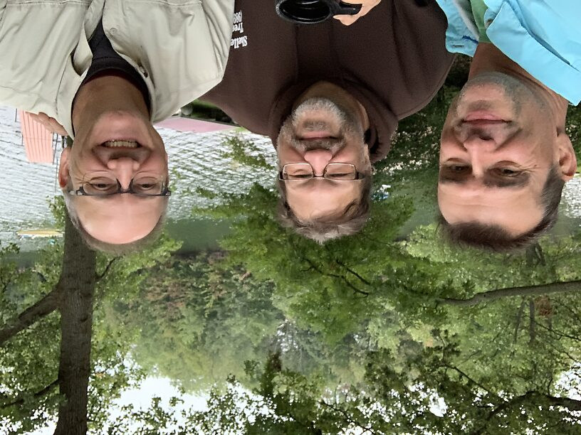 """Once again, """"The Three Amigos"""" at Todd's cottage with Cowden Lake in the background"""