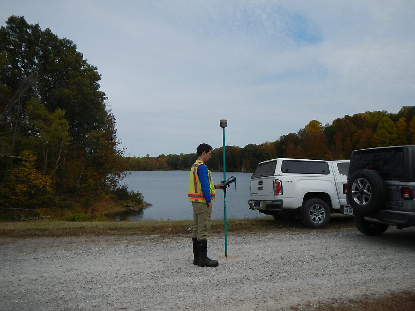 Mike Osier, our main GPS guy, standing on the dam that will be removed or repaired