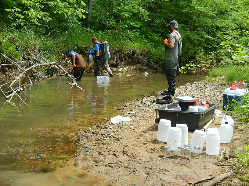 Benthos collecting jars set up while the fish shocking crew zaps up some more