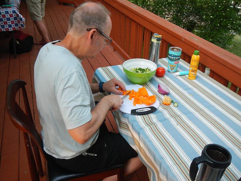 Joe chops the veggies