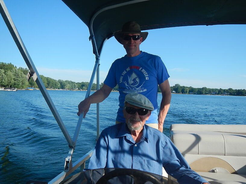 Host Todd and neighbor Captain Wayne taking us on a lovely evening cruise around Cowden Lake