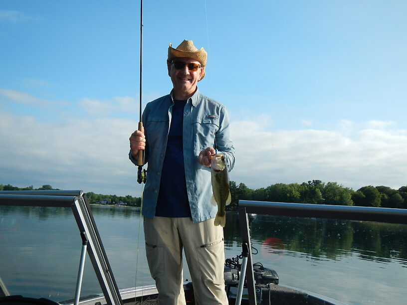 Last evening on Cowden lake and Joe pops up a nice largemouth on that blue thing again