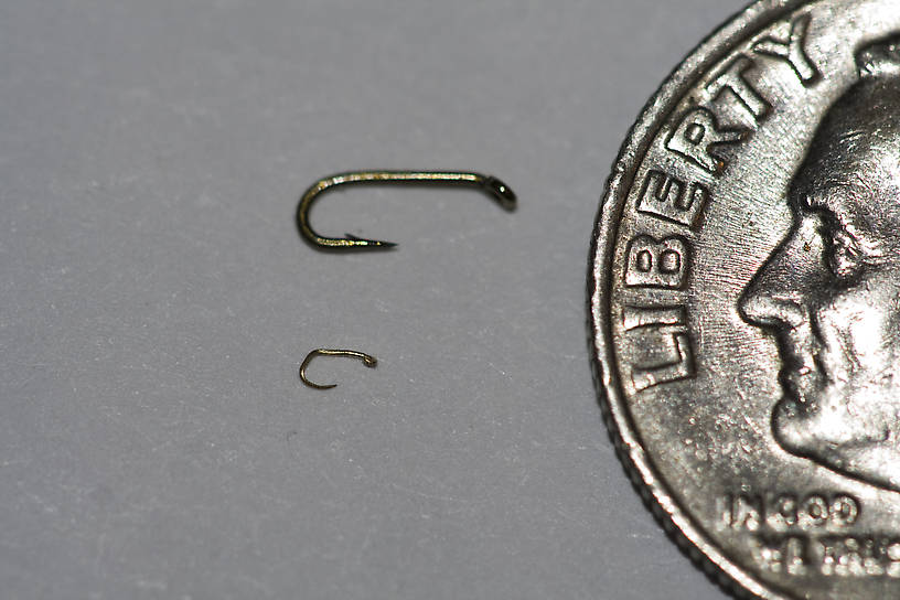 Here is the hook again, with a dime to give perspective.  I had another shot with a ruler, but it got inadvertently deleted.  It is 2.0 mm long, compared with the 6-mm long size-26.