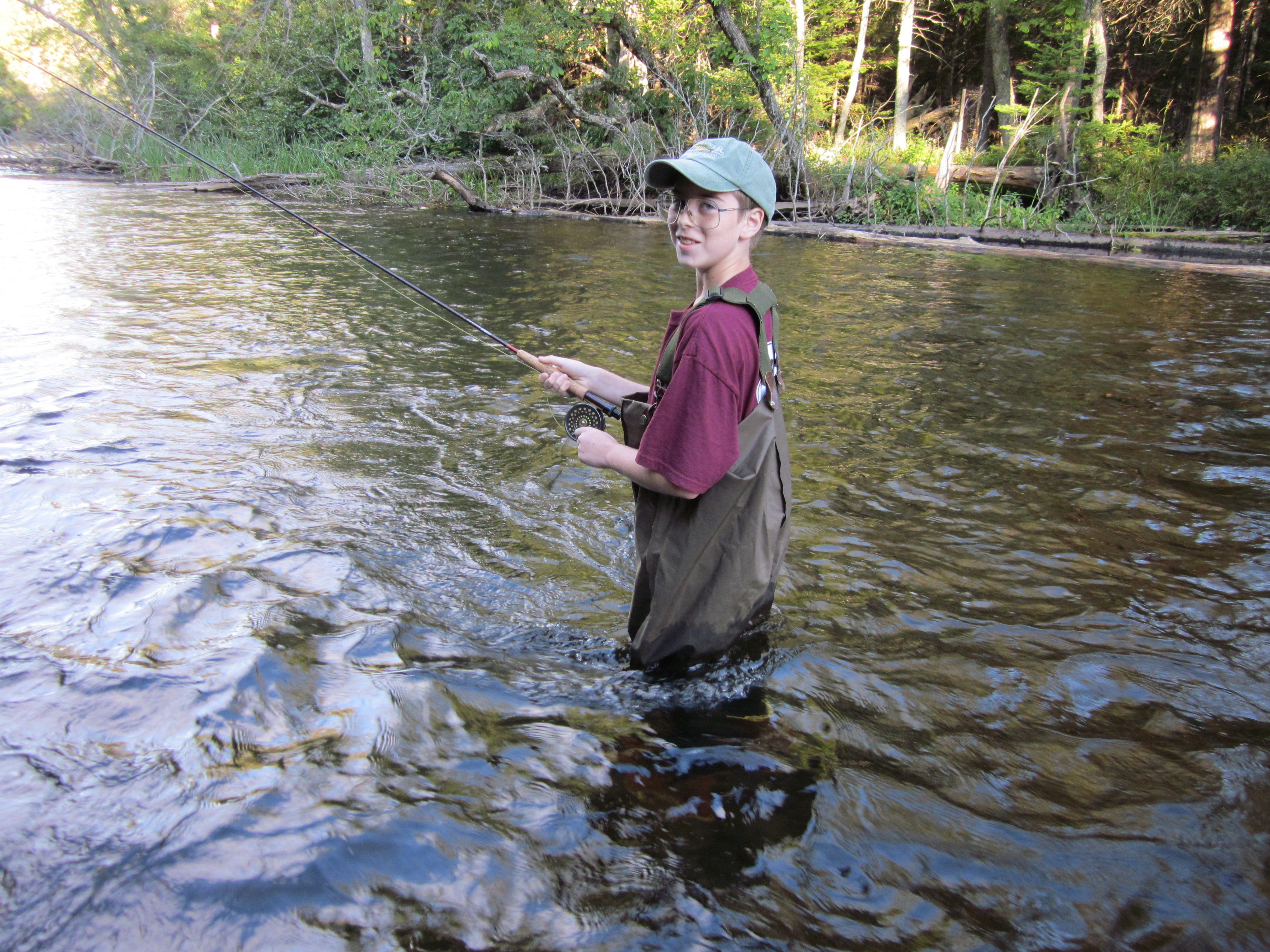 He looks pretty serious here with that Sage & Hardy in his hands...Even though he's never fished before.