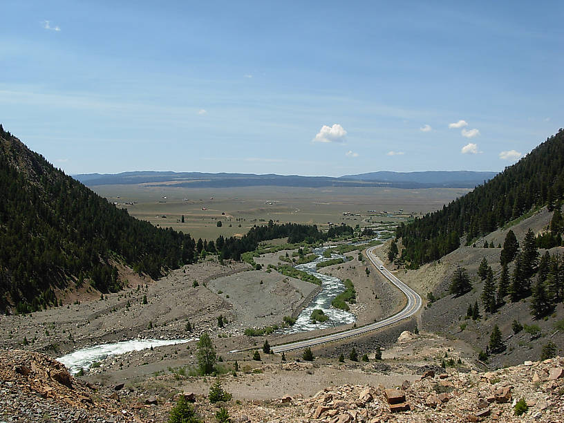 The view of the Madison River from above the Quake Lake visitor center.