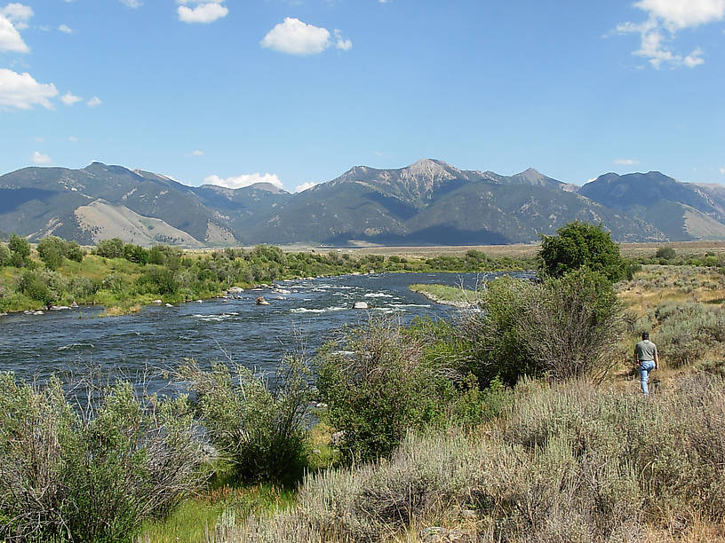 Looking upstream from the Three Dollar Bridge with the beautiful mountain range in the background.
