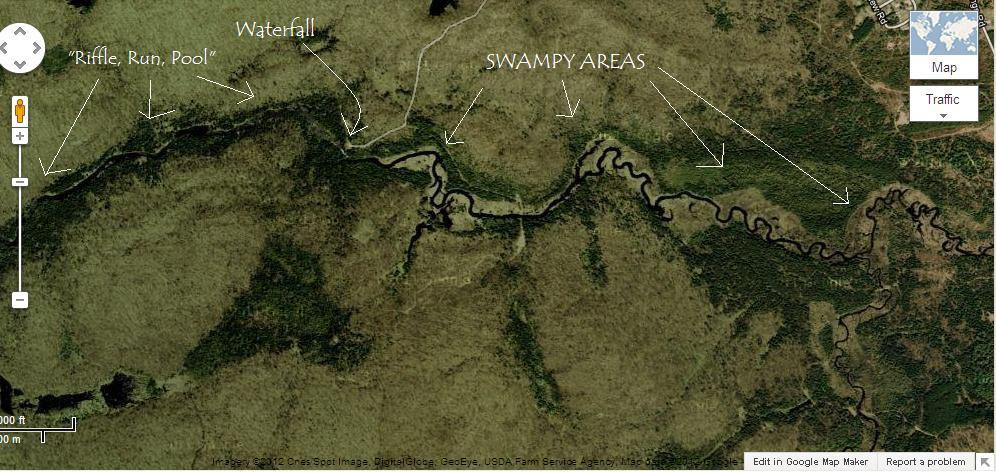 I hope posting Google Maps isn't illegal or anything, there's the copyright on the bottom atleast.  River flows from right to left.